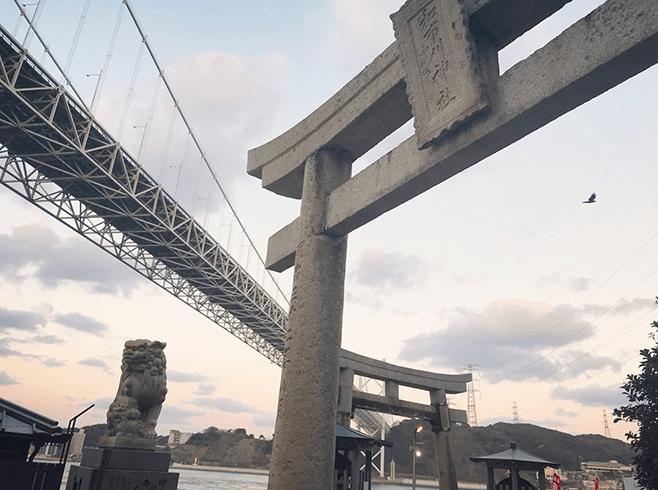 和布刈神社から下関側の風景画像