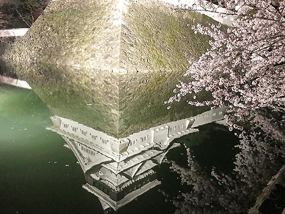 北九州市小倉北区にある小倉城の水面反射の画像